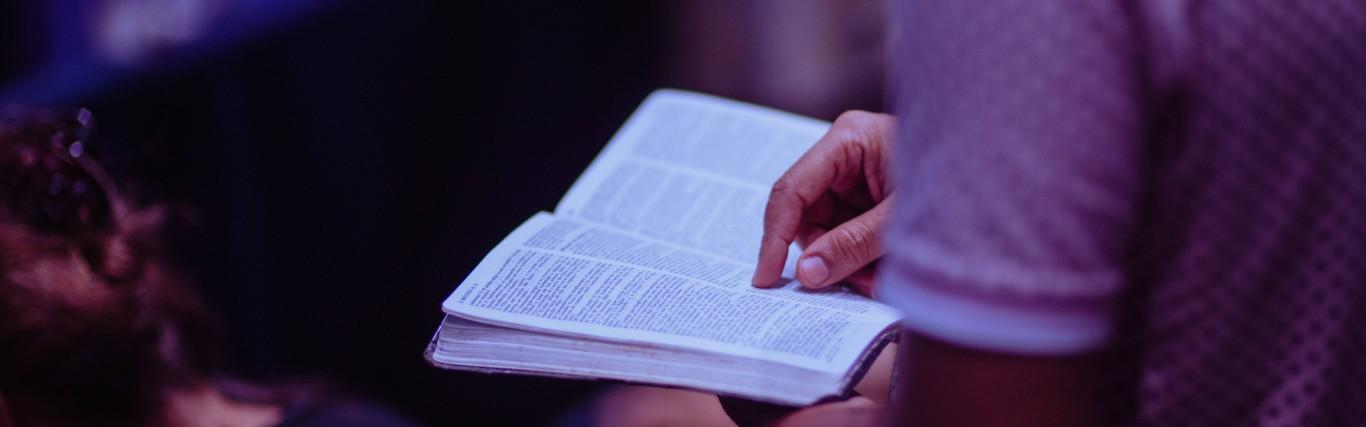 A man looking at a bible